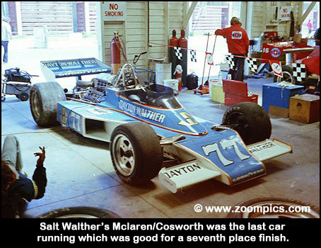 Salt Walther's McLaren/Cosworth was the last car running which was good for a seventh place finish.